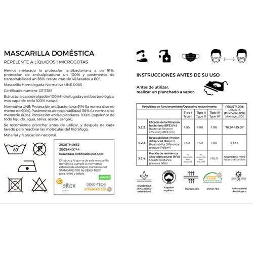 Certificado homologación mascarillas