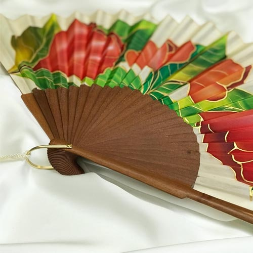 Abanico de seda grande pintado a mano con amapolas