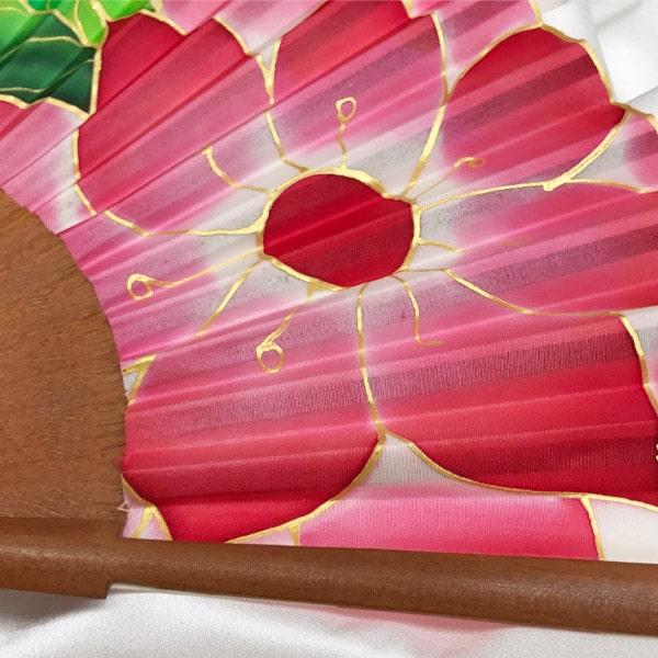 Abanico de seda mediano pintado a mano con Dalia roja