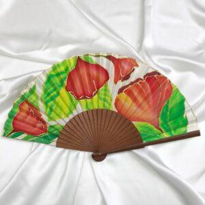 Abanico de seda mediano pintado a mano con amapolas