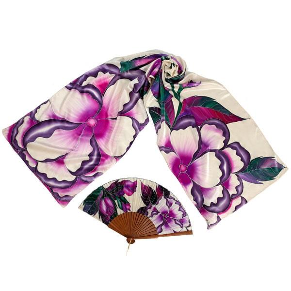 Conjunto de seda pintado a mano de fular y abanico de flores malvas