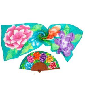 Conjunto de seda pintado a mano de flores multicolor estilo Frida