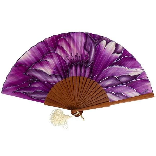 Conjunto de seda pintado a mano de fular y abanico de flores malva