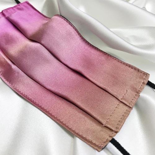 Mascarilla homologada de seda pintada a mano difuminada nudé
