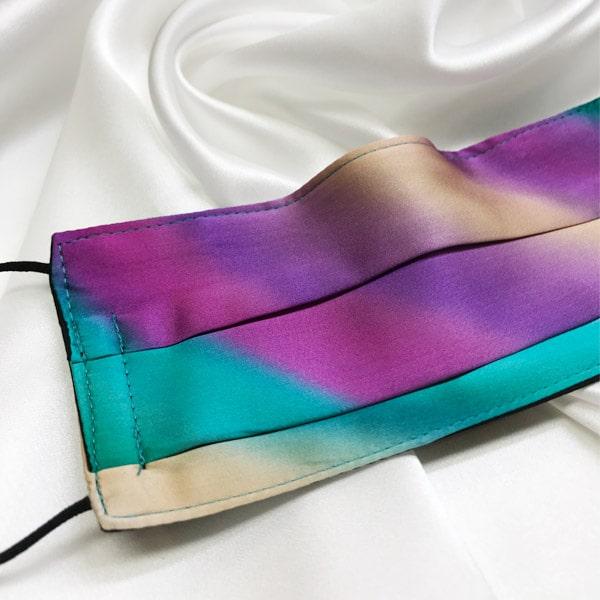 Mascarilla homologada de seda pintada a mano difuminada multicolor