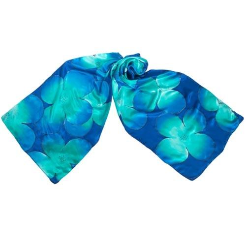 Fular de seda pintado a mano con flores en tonos azules