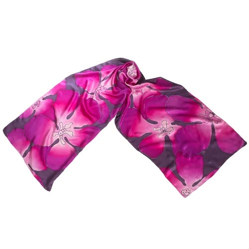 Fular de seda pintado a mano con flores en rosas y malvas
