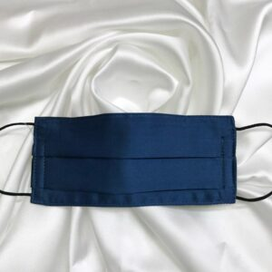 Mascarilla homologada de seda pintada a mano para hombre azul