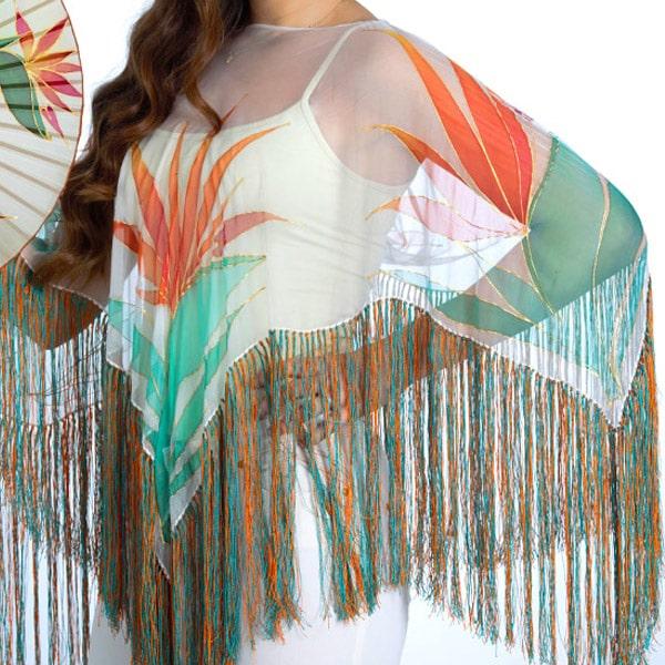 Poncho de seda pintado a mano con flores del paraíso