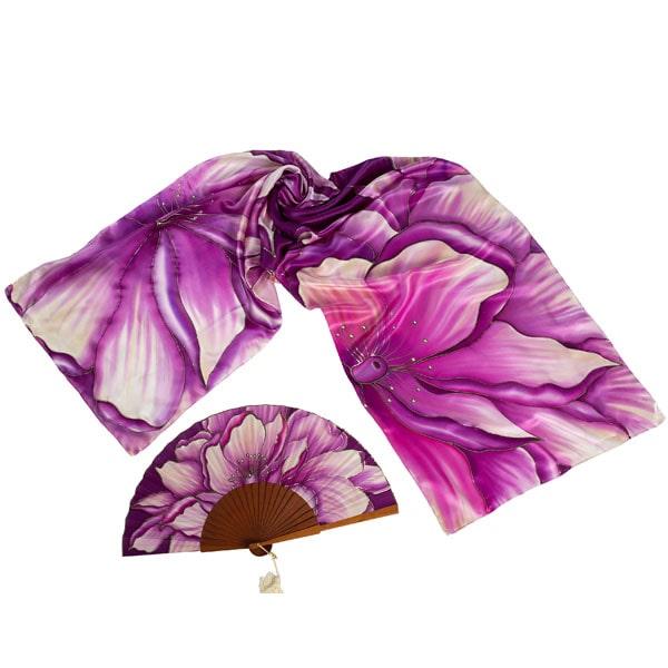 Conjunto de seda pintado a mano de flores con cristales Swarovski