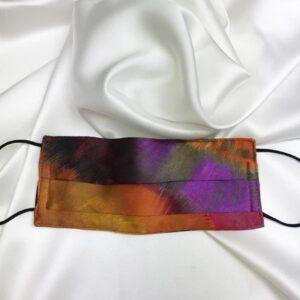 Mascarilla homologada de seda en estampado malva y naranja