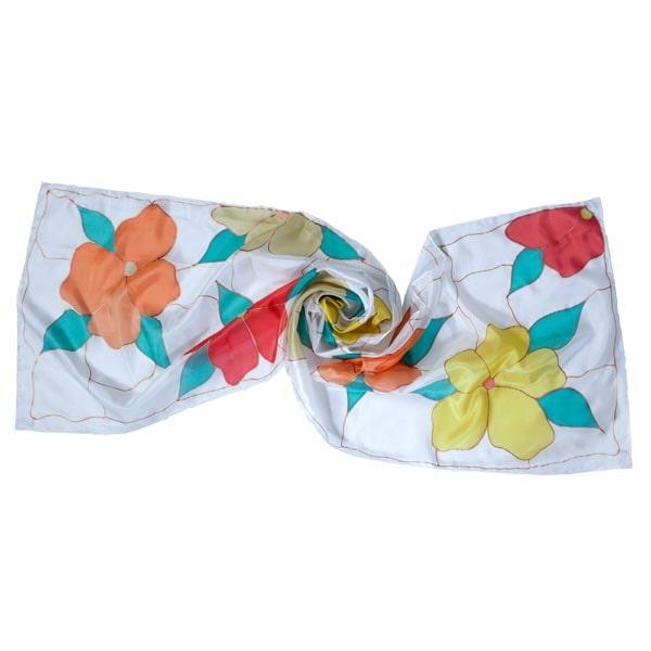 Fular de seda pintado a mano con flores Tiffany multicolor