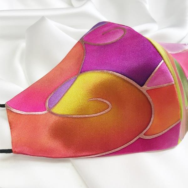 Mascarilla homologada de seda pintada a mano Kandinsky nudé