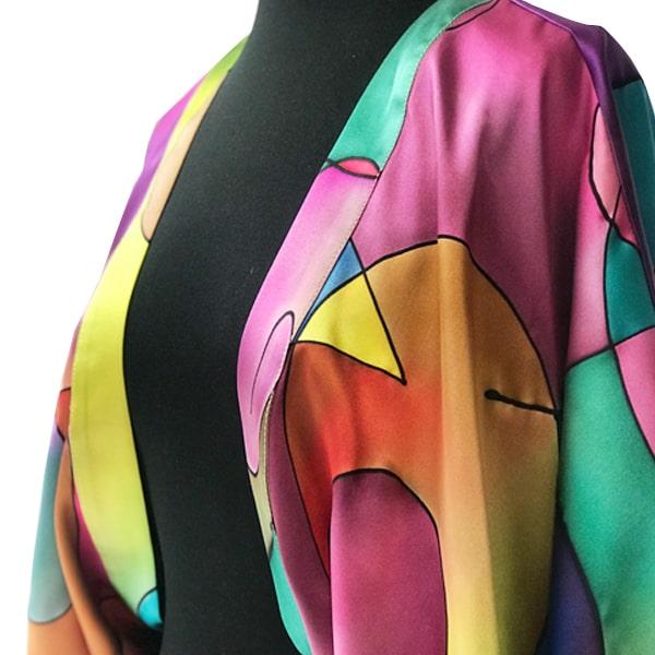 Kimono de seda pintado a mano Kandinsky multicolor