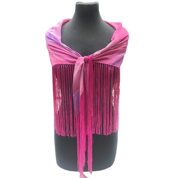 Mantoncillo de flamenca de seda pintado a mano con nervio rosa