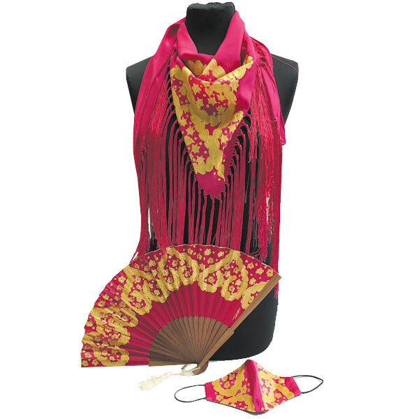 Conjunto de seda pintado a mano de tres piezas de aire de luces