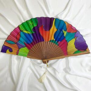 Abanico de seda pintado a mano estilo Kandinsky 2