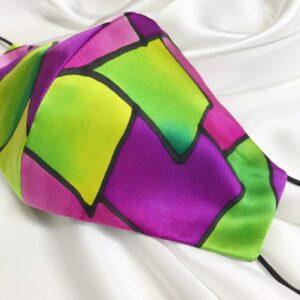 Mascarilla homologada de seda pintada a mano con espejo multicolor