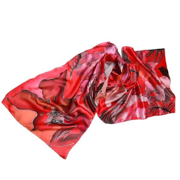 Fular de seda pintado a mano con flores en tonos rojos