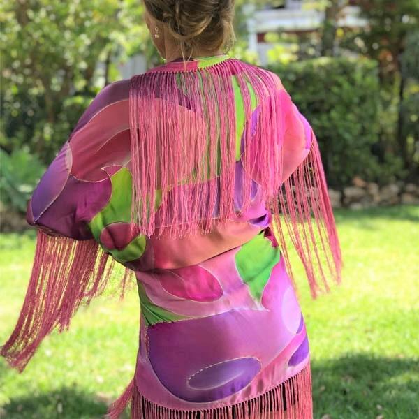 Mantón-Kimono de seda flecado pintado a mano Kandinsky nudé
