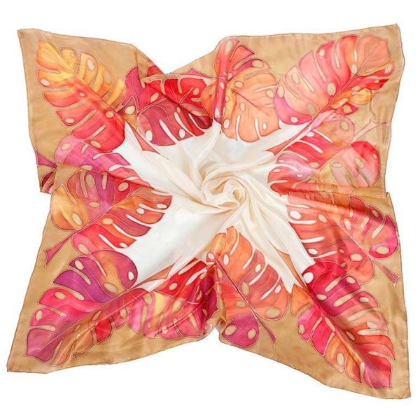 Pañuelo de seda pintado a mano con hojas de costilla de Adán