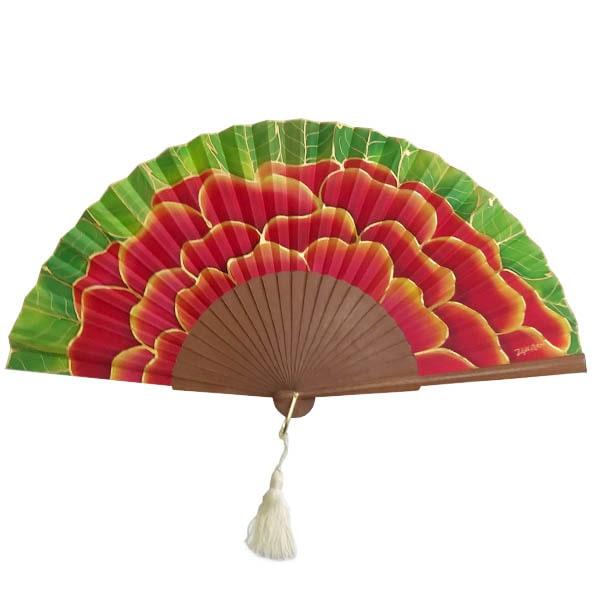 Abanico de seda pintado a mano con flor grande roja