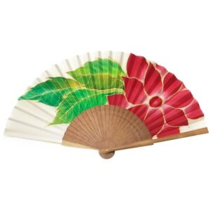 Abanico de seda pintado a mano con flor roja con hojas