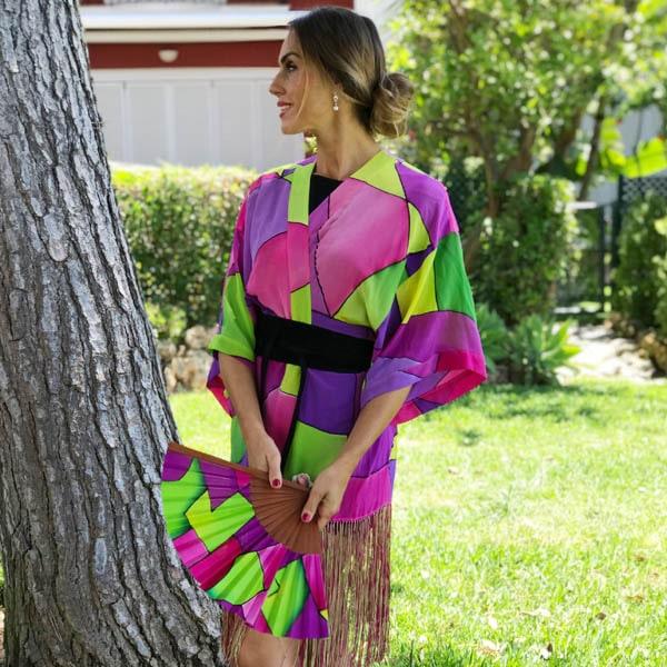 Kimono de seda flecado y pintado a mano colección espejo