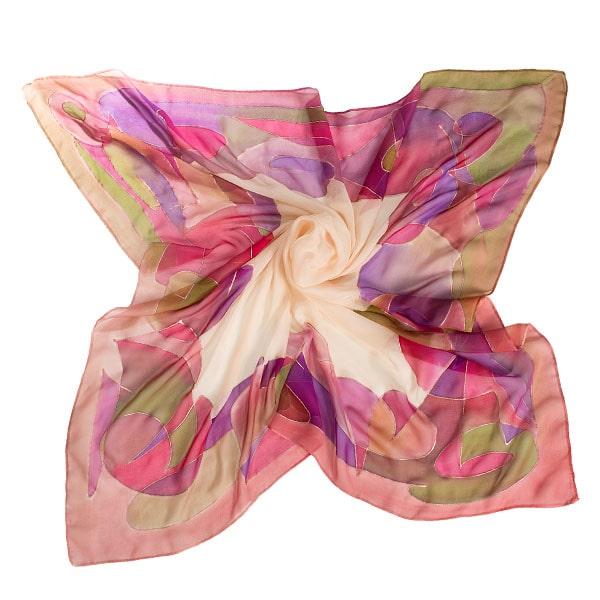 Cubre hombros estola de seda pintado a mano Kandinsky nudé
