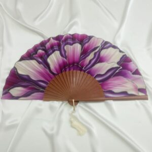 Abanico de seda pintado a mano con flor salvaje malva y fucsia