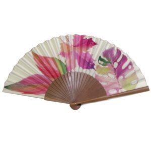 Abanico de seda pintado a mano con hojas mixtas nudé