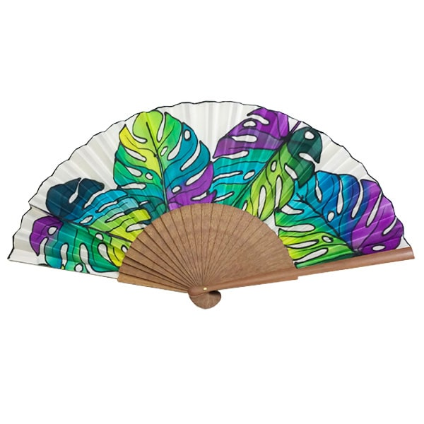 Abanico de seda pintado a mano con hojas de costilla de Adán